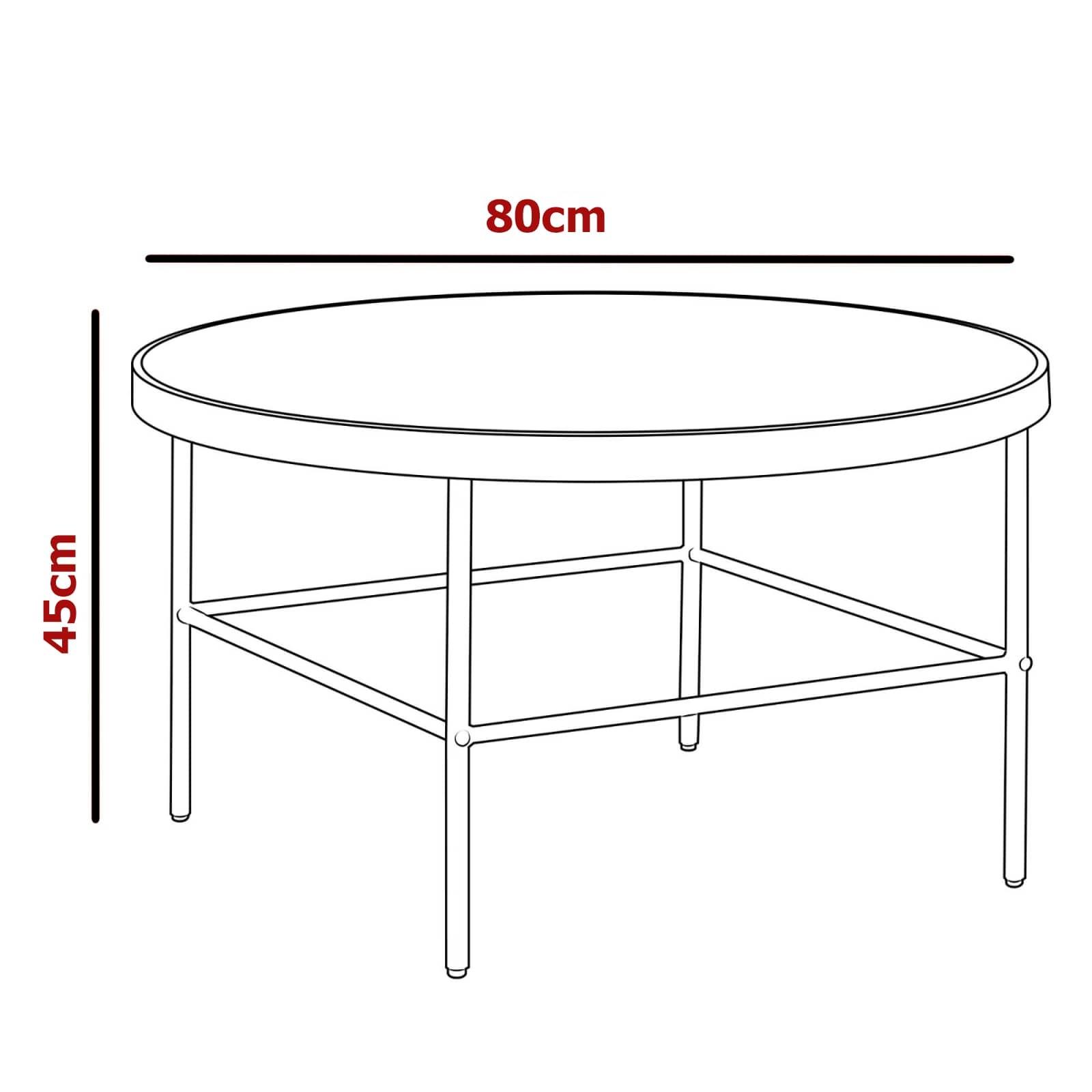Table basse ronde en verre et métal noir design