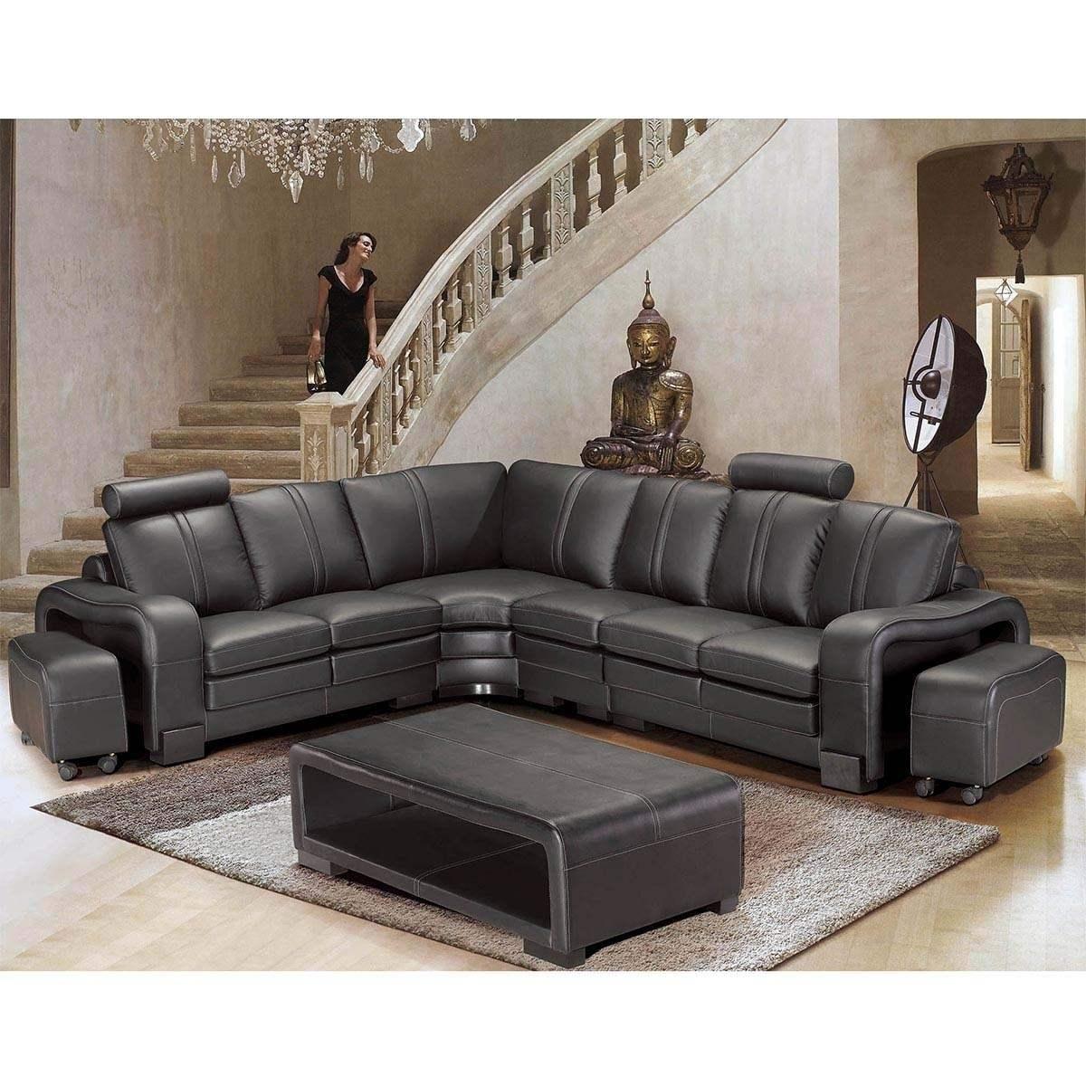 Canapé d'angle réversible en cuir noir et 2 poufs