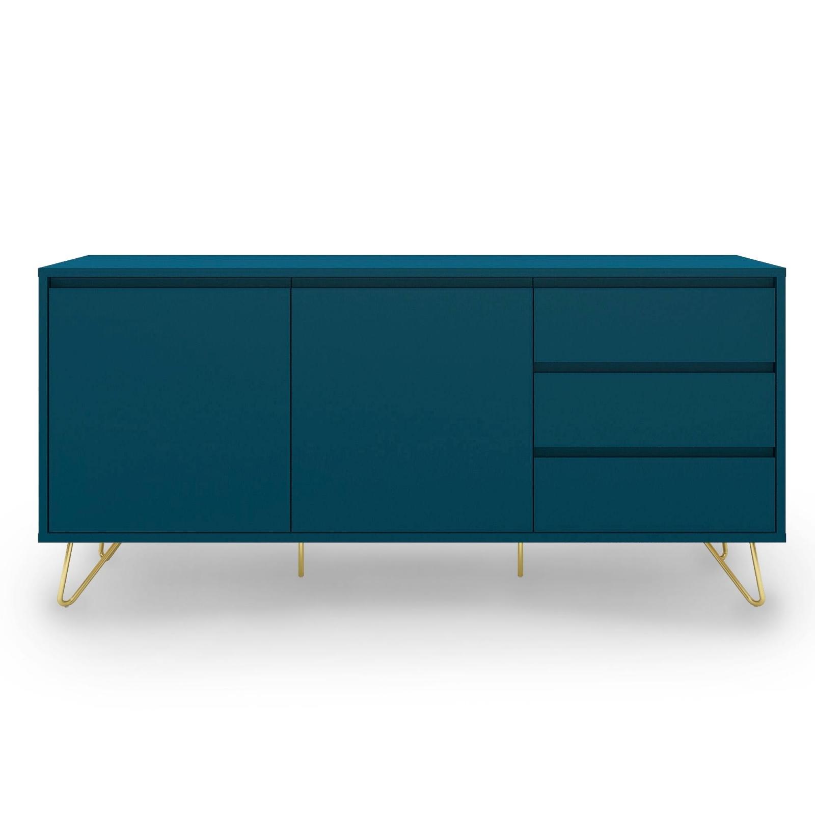 Buffet enfilade bleu canard équipé de 3 tiroirs et 2 portes
