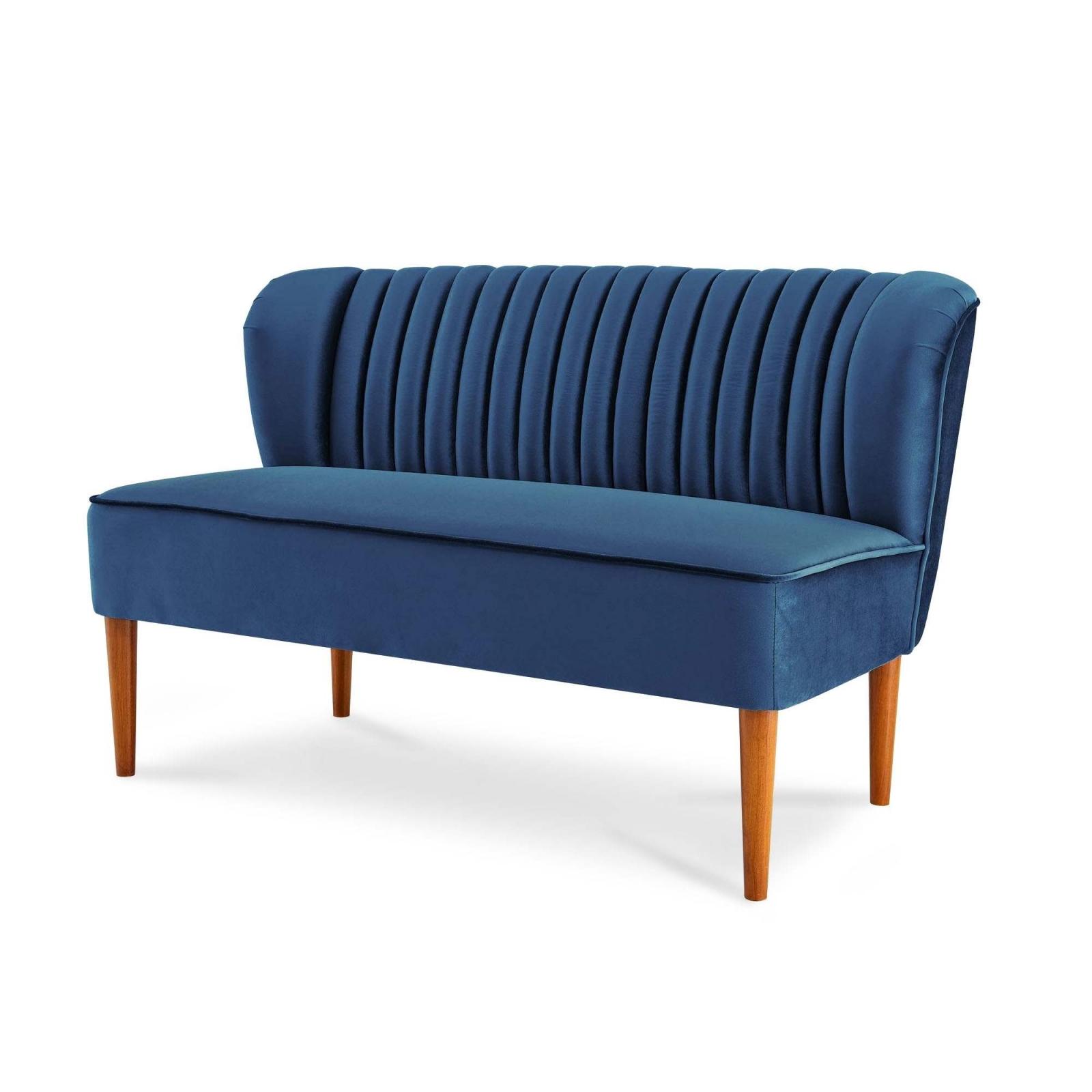 Canapé 2 places en tissu velours bleu design