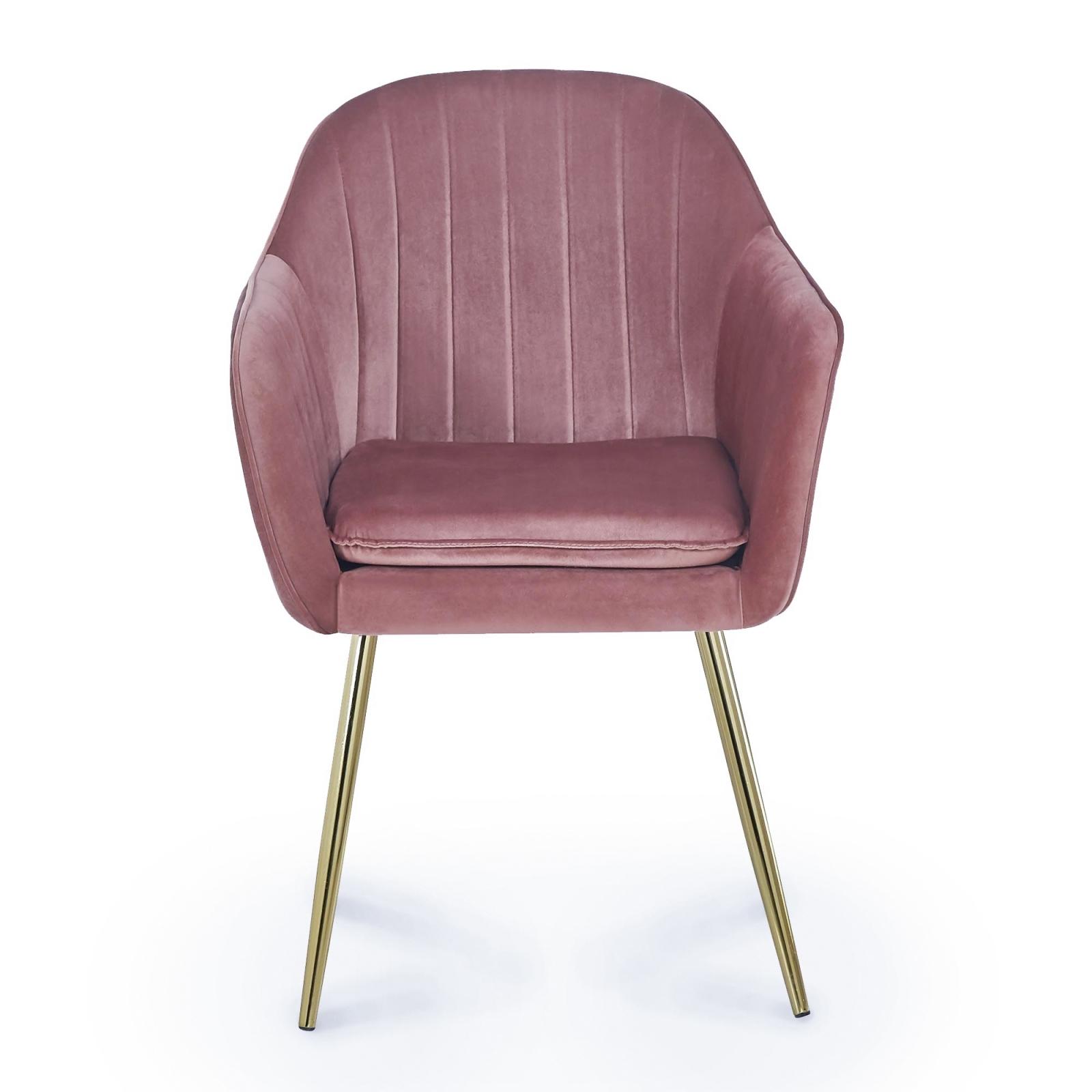 Lot de 2 chaises design avec accoudoirs en velours rose