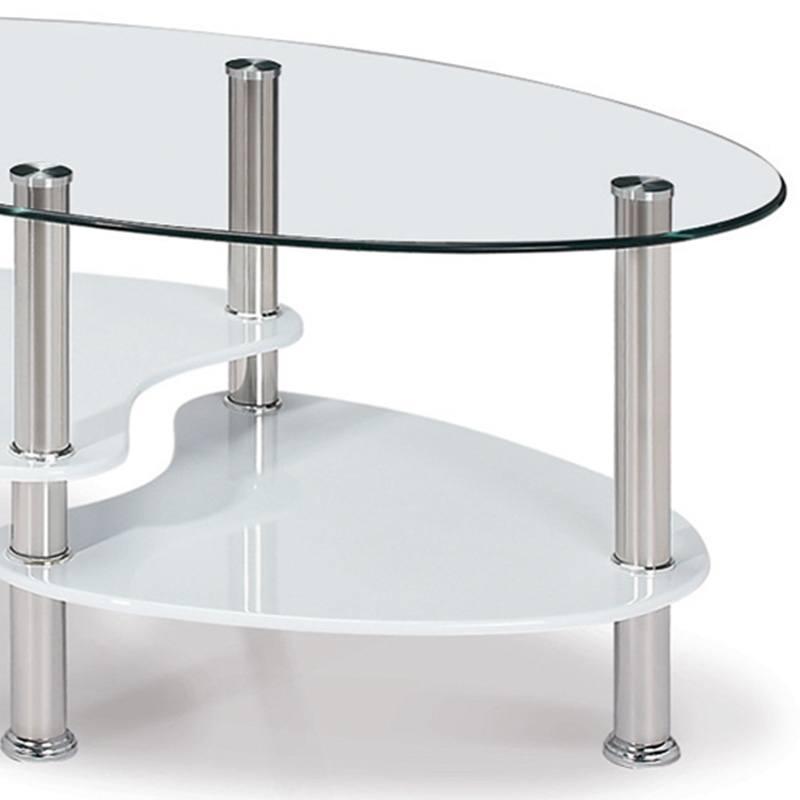 Table basse en verre transparent blanc