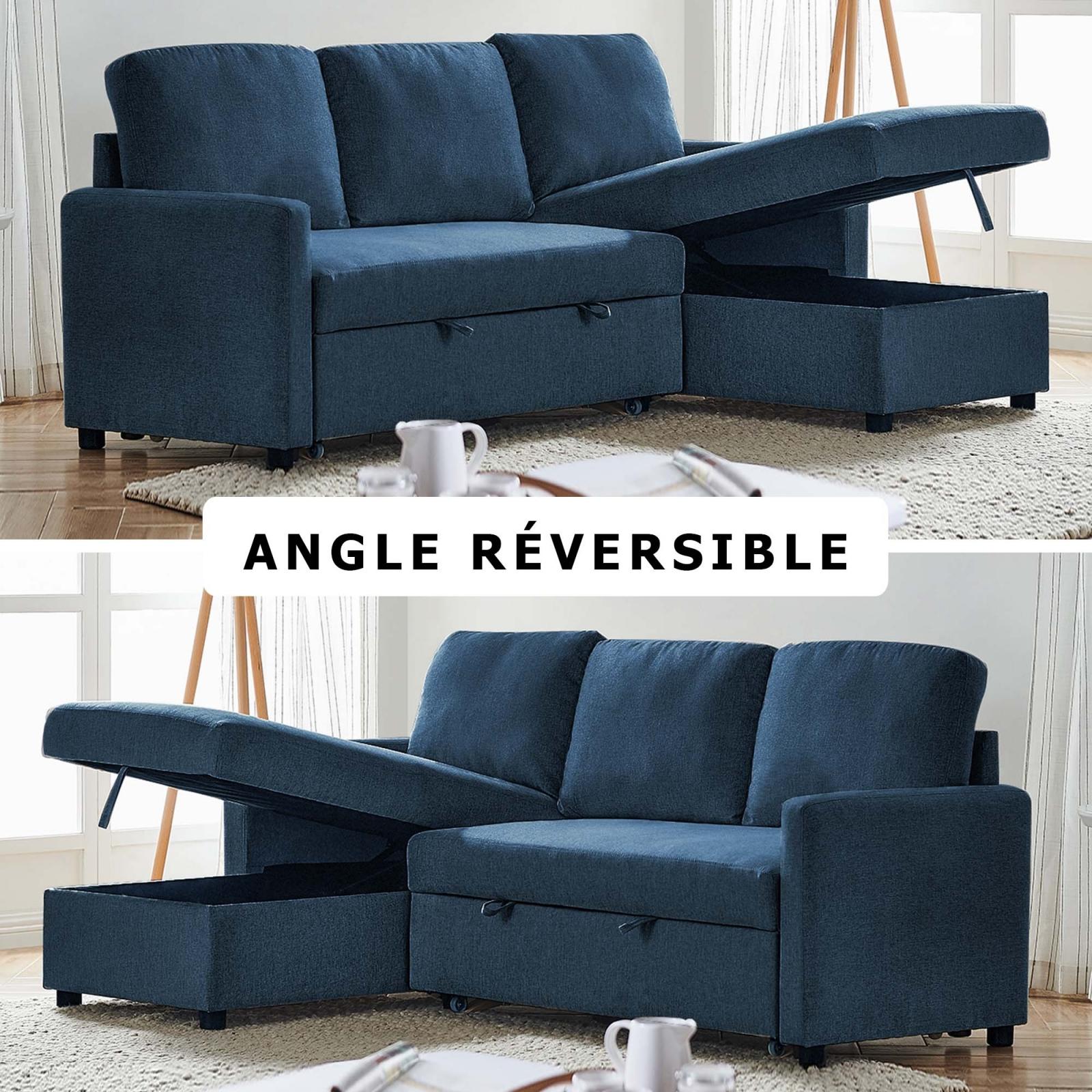 Canapé convertible avec coffre de rangement angle réversible en tissu bleu