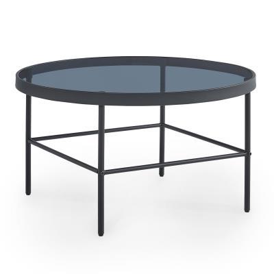 ALISMA - Table basse ronde en verre et métal noir design