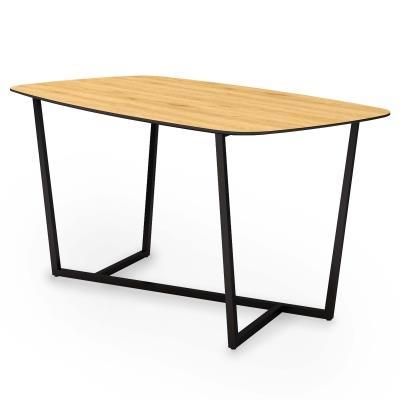 ALISTAIR - Table à manger en bois et métal noir 6 personnes