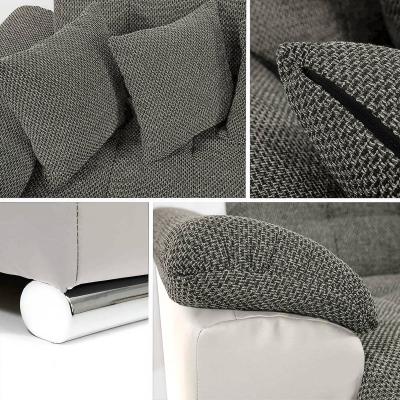 APOLLO - Canapé d'angle Panoramique Gris Et Blanc