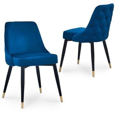 ARIELLE - Lot de 2 chaises en velours bleu dossier capitonné