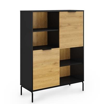 ARWEN - Buffet bibliothèque en bois et métal 2 portes 2 étagères