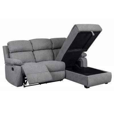 CABAS - Canapé d'angle relax gris angle droit avec méridienne