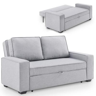 Canapé convertible 3 places en tissu gris
