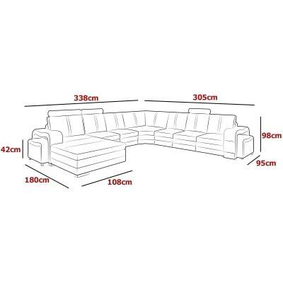 Canapé d'angle panoramique en cuir gris avec méridienne à gauche