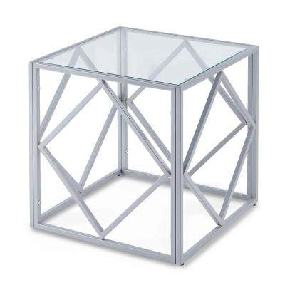 CLARA - CLARA - Table basse carrée en verre et métal