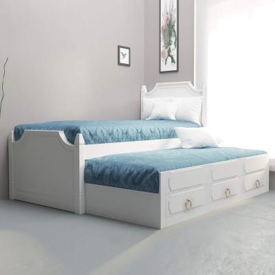 CLEMENCE - Lit gigogne 90 x 190 cm avec tiroirs en bois blanc
