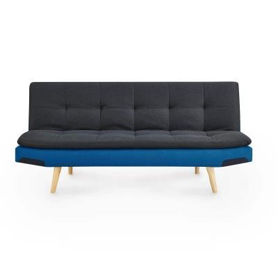 DIANA - Banquette clic clac convertible en tissu gris et bleu