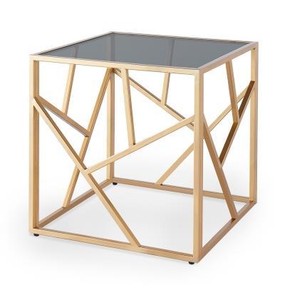 ELINA - Table basse en verre  carrée noir et métal doré