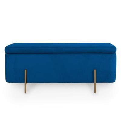 Banquette coffre de rangement en velours bleu et pieds dorés