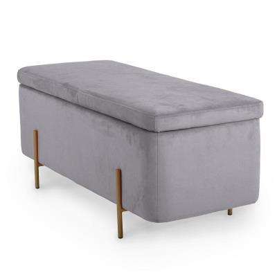 HAYDEN II - Banquette coffre de rangement en velours gris et pieds dorés