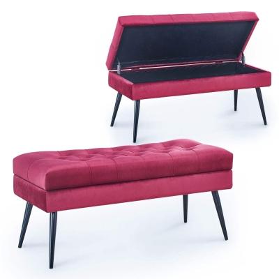 KALINDA - banquette coffre en velours rouge capitonné