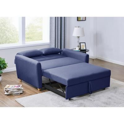 Canapé 2 places convertible scandinave en tissu bleu