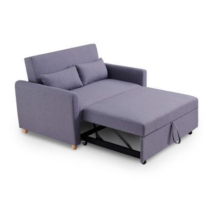Canapé 2 places convertible scandinave en tissu gris