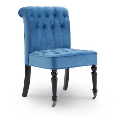 KESSI - Fauteuil crapaud bleu en velours avec pieds à roulettes