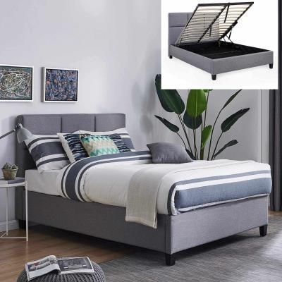 LARA - Lit coffre contemporain en tissu gris avec le sommier relevable 140 x 190 cm