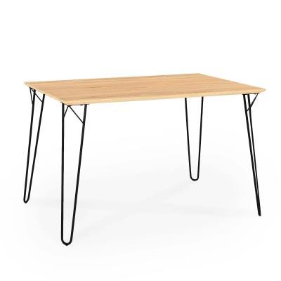 LINA - Table à manger rétro en noir et bois