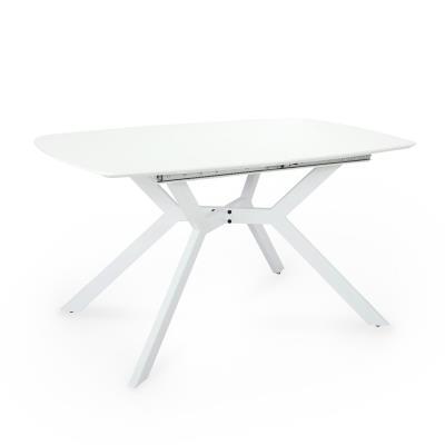 LUCIEN - Table à manger extensible 6-8 personnes blanc laqué pieds métal