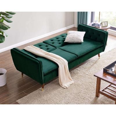 Canapé clic-clac 3 places convertible en tissu velours vert