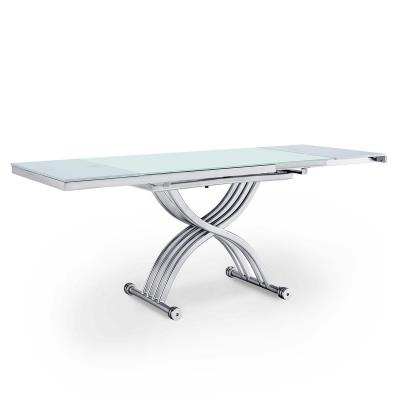 MARCO - Table basse blanche relevable 2 allonges