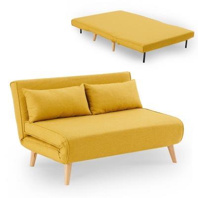 Banquette convertible en tissu jaune 2 places