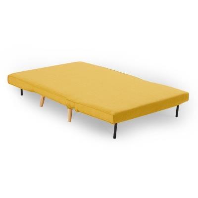 NAMIA - Banquette convertible en tissu jaune 2 places
