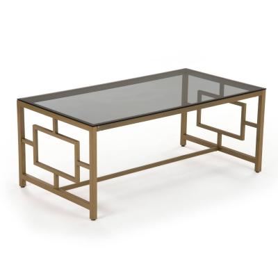 OPHIR - Table basse rectangulaire en verre noir et métal doré
