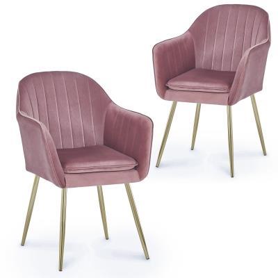 REGINA - Lot de 2 chaises design avec accoudoirs en velours rose
