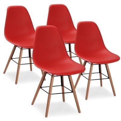 RETRO - Lot De 4 Chaises Scandinaves Rouges