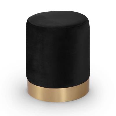 ROBIN - Pouf rond en velours noir et métal doré