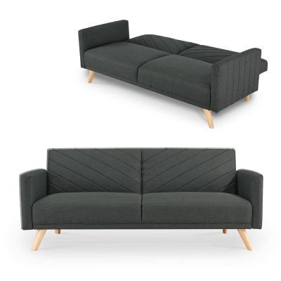 ROMY - Canapé 3 places en tissu gris anthracite convertible scandinave