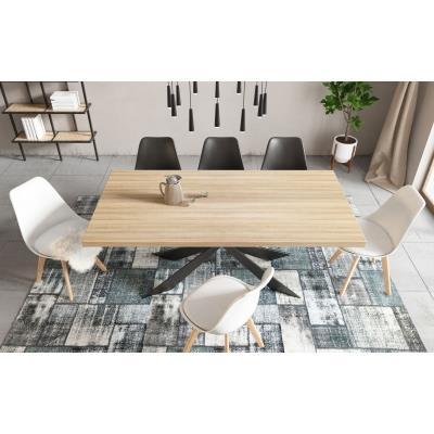 Table à manger en bois et métal pieds design 6 personnes